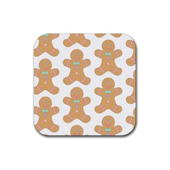 Pattern Christmas Biscuits Pastries Rubber Coaster (square)  by Onesevenart