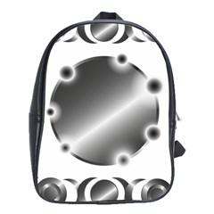 Metal Circle Background Ring School Bag (xl) by Onesevenart