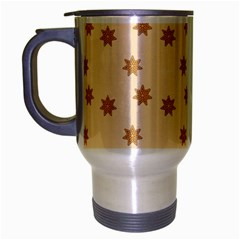 Pattern Gingerbread Star Travel Mug (silver Gray) by Onesevenart