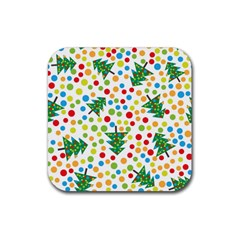 Pattern Circle Multi Color Rubber Square Coaster (4 Pack)  by Onesevenart