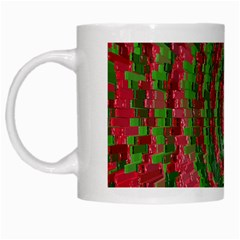 Red Green Swirl Twirl Colorful White Mugs by Onesevenart