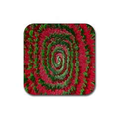Red Green Swirl Twirl Colorful Rubber Coaster (square)  by Onesevenart