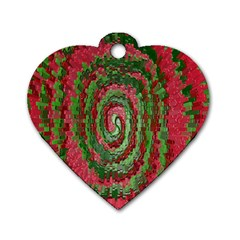 Red Green Swirl Twirl Colorful Dog Tag Heart (one Side) by Onesevenart