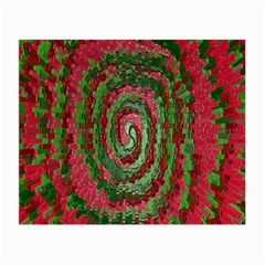 Red Green Swirl Twirl Colorful Small Glasses Cloth (2 Side) by Onesevenart