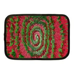 Red Green Swirl Twirl Colorful Netbook Case (medium)  by Onesevenart