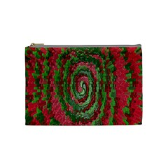 Red Green Swirl Twirl Colorful Cosmetic Bag (medium)  by Onesevenart