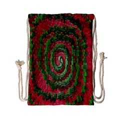 Red Green Swirl Twirl Colorful Drawstring Bag (small) by Onesevenart