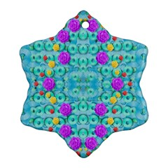 Season For Roses And Polka Dots Snowflake Ornament (two Sides) by pepitasart