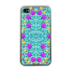 Season For Roses And Polka Dots Apple Iphone 4 Case (clear) by pepitasart