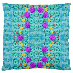 Season For Roses And Polka Dots Large Flano Cushion Case (one Side) by pepitasart