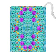Season For Roses And Polka Dots Drawstring Pouches (xxl) by pepitasart