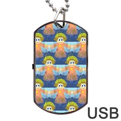 Seamless Repeat Repeating Pattern Dog Tag Usb Flash (one Side) by Onesevenart