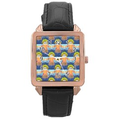Seamless Repeat Repeating Pattern Rose Gold Leather Watch  by Onesevenart