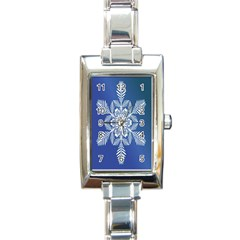 Snow Flake Crystal Snow Winter Ice Rectangle Italian Charm Watch by Onesevenart