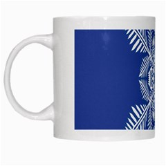 Snow Flake Crystal Snow Winter Ice White Mugs by Onesevenart
