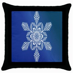 Snow Flake Crystal Snow Winter Ice Throw Pillow Case (black) by Onesevenart