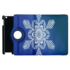 Snow Flake Crystal Snow Winter Ice Apple Ipad 2 Flip 360 Case by Onesevenart