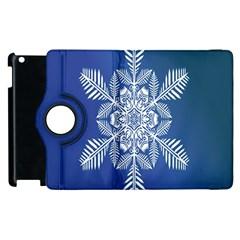 Snow Flake Crystal Snow Winter Ice Apple Ipad 3/4 Flip 360 Case by Onesevenart