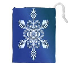 Snow Flake Crystal Snow Winter Ice Drawstring Pouches (xxl) by Onesevenart