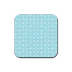 Snowflakes Paper Christmas Paper Rubber Square Coaster (4 Pack)  by Onesevenart
