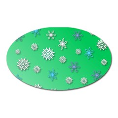 Snowflakes Winter Christmas Overlay Oval Magnet by Onesevenart