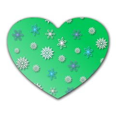 Snowflakes Winter Christmas Overlay Heart Mousepads by Onesevenart