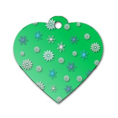Snowflakes Winter Christmas Overlay Dog Tag Heart (one Side) by Onesevenart
