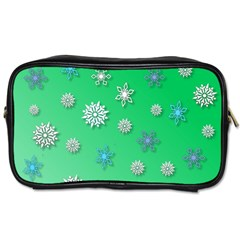 Snowflakes Winter Christmas Overlay Toiletries Bags 2 Side by Onesevenart