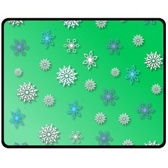 Snowflakes Winter Christmas Overlay Fleece Blanket (medium)  by Onesevenart