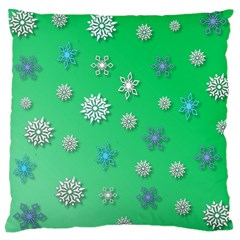 Snowflakes Winter Christmas Overlay Large Cushion Case (two Sides) by Onesevenart