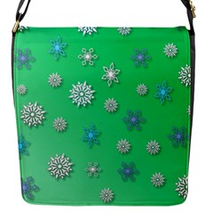 Snowflakes Winter Christmas Overlay Flap Messenger Bag (s) by Onesevenart
