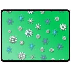 Snowflakes Winter Christmas Overlay Double Sided Fleece Blanket (large)  by Onesevenart