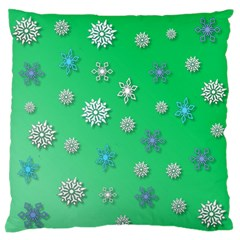 Snowflakes Winter Christmas Overlay Large Flano Cushion Case (one Side) by Onesevenart