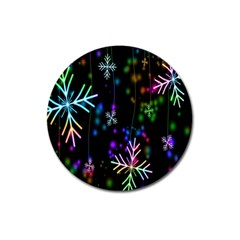 Snowflakes Snow Winter Christmas Magnet 3  (round) by Onesevenart