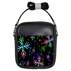 Snowflakes Snow Winter Christmas Girls Sling Bags by Onesevenart