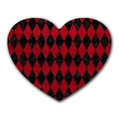 Diamond1 Black Marble & Red Leather Heart Mousepads by trendistuff