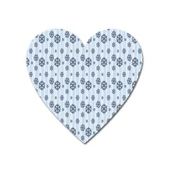 Snowflakes Winter Christmas Card Heart Magnet by Onesevenart