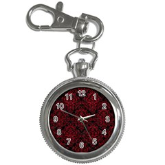 Damask1 Black Marble & Red Leather (r) Key Chain Watches by trendistuff