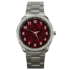 Damask1 Black Marble & Red Leather (r) Sport Metal Watch by trendistuff