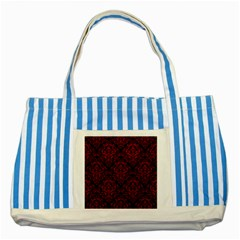 Damask1 Black Marble & Red Leather (r) Striped Blue Tote Bag by trendistuff
