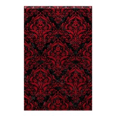 Damask1 Black Marble & Red Leather (r) Shower Curtain 48  X 72  (small)  by trendistuff