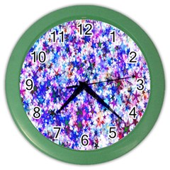 Star Abstract Advent Christmas Color Wall Clocks by Onesevenart