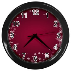 Star Background Christmas Red Wall Clocks (black) by Onesevenart
