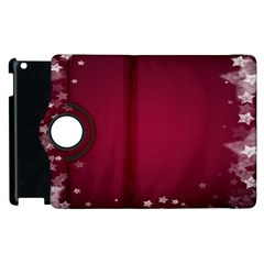 Star Background Christmas Red Apple Ipad 3/4 Flip 360 Case by Onesevenart