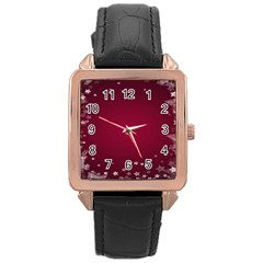 Star Background Christmas Red Rose Gold Leather Watch  by Onesevenart