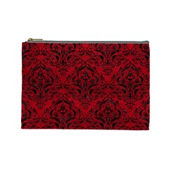 Damask1 Black Marble & Red Leather Cosmetic Bag (large)  by trendistuff