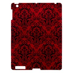 Damask1 Black Marble & Red Leather Apple Ipad 3/4 Hardshell Case by trendistuff