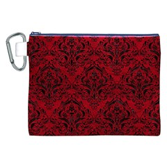 Damask1 Black Marble & Red Leather Canvas Cosmetic Bag (xxl) by trendistuff