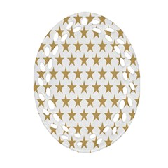 Star Background Gold White Oval Filigree Ornament (two Sides) by Onesevenart