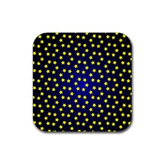Star Christmas Red Yellow Rubber Coaster (square)  by Onesevenart